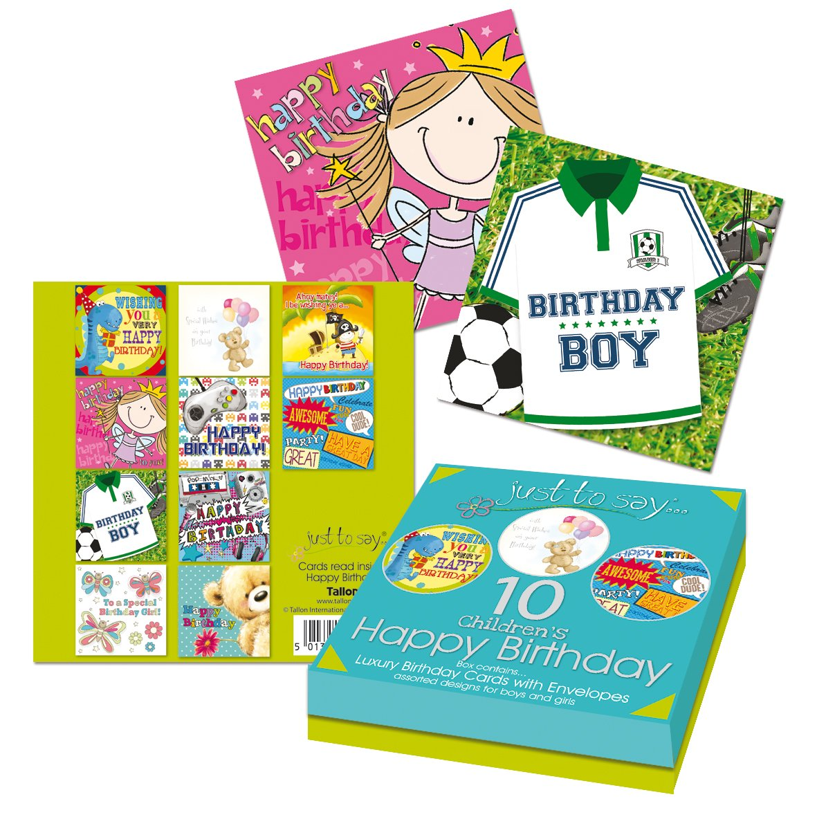 Tallon Just To Say Kids Birthday Card Box of 10 Amazoncouk – Birthday Cards Children