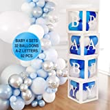 82 PCS Baby Shower Decorations for Boy Kit - Jumbo Transparent Baby Block Balloon Box Includes BABY, Alphabet Letters DYI Whi