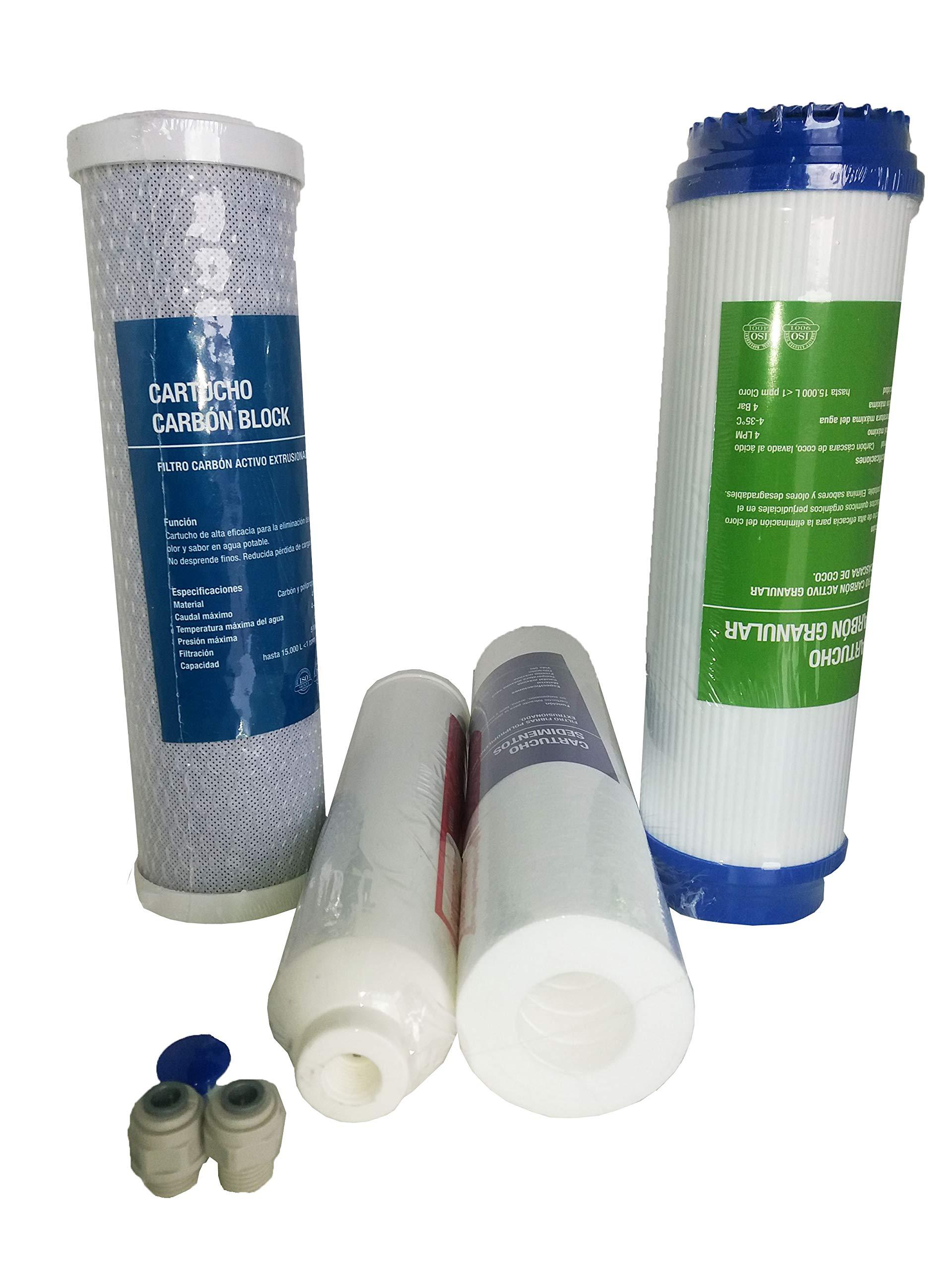 Repuesto universal Kit recambio 4 cartuchos Genius Osmosis Inversa doméstica con adaptadores para varios modelos