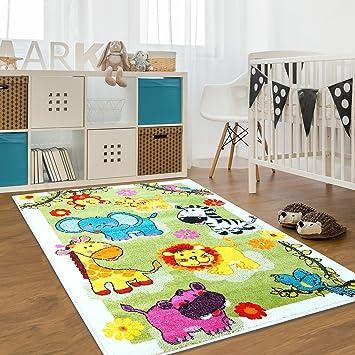 Kinderteppich grün gelb  Kinderteppich Moda Wiese Bunt Grün Gelb Türkis Kinderzimmer Öko ...