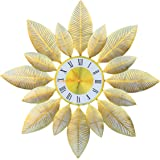 Beautiful Flower with Gold Clock Wall Hanging for Living Room Kitchen
