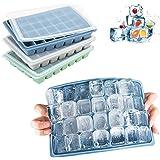 LessMo Bac à glaçons, 3 PCS pour glaçons en Silicone avec couvercles Anti-éclaboussures,Flexibles, Faciles à Extraire des Gla
