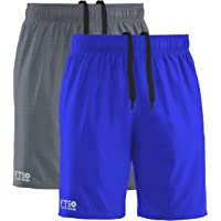 FULL TIME SPORTS® Pack of 2 Mens Shorts with 3 Zip Pockets for Running & Gym