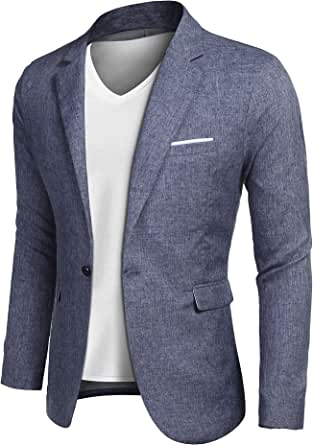 JINIDUMen'sCasualSportsCoatsOneButton Smart Slim Fit Suit Blazer Jacket