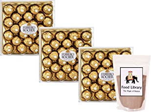 FOOD LIBRARY THE MAGIC OF NATURE Ferrero Rocher Chocolates Gift Box, 24 Count (Set Of 3)+Food Library Drinking Chocolate Powder(100g)
