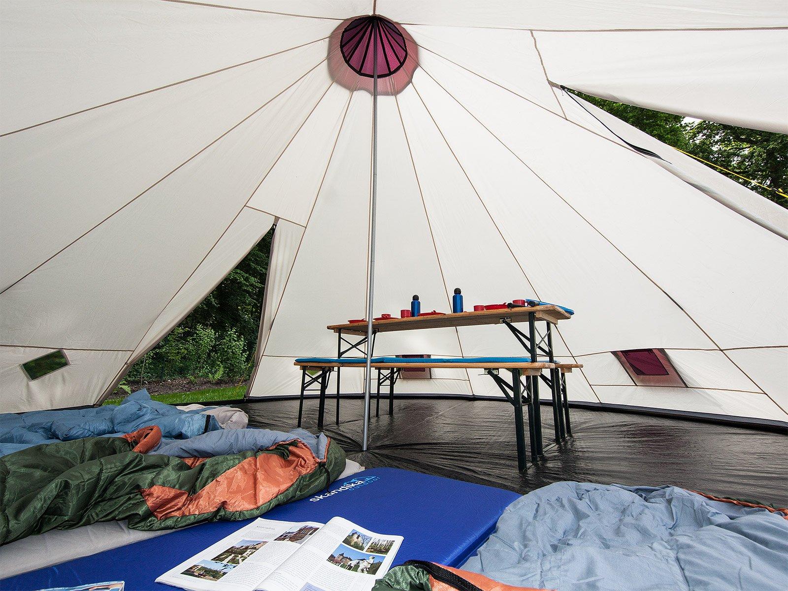Skandika Teepee 301 Wigwam Style Indiana Tepee Tent, Sewn-In Groundsheet, 300 cm Peak Height, 3000 mm Water Column, Sand/Burgundy, 12-Person 5
