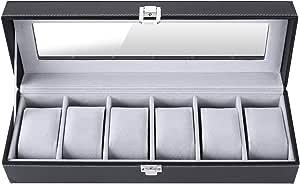 FEMOR Scatola Porta Orologi con 6 Scomparti, Contenitore con Scomparti Grandi Fodera di Velluto
