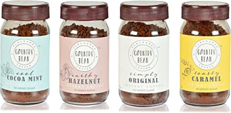 Country Bean Instant Coffee Powder | Original | Hazelnut | Caramel | Cocoa Mint Flavours Combo Pack of 4 X 60 g
