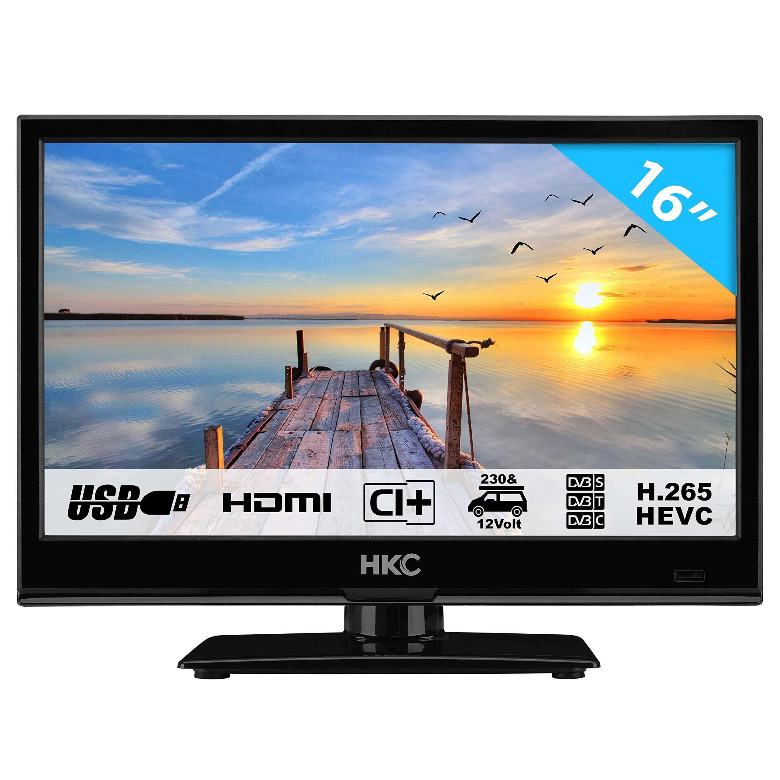 HKC 16M4 39.6 cm (15.6 Pouces) LED téléviseur (HD Ready, Triple Tuner DVB-T2 / T/C / S2 / S, H.265 HEVC, CI+, Lecteur multimédia Via Port, Chargeur de Voiture 230 V/12 V) [Classe énergétique A+]