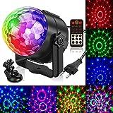 Lampe de Scène,Gvoo 5 Couleur Boule à Facette avec Télécommande LED 7 RGB avec Télécommande Jeux de Lumiere Commande Sonore B