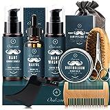 Kit Barba Cuidado para Hombres, 10 en 1 Set de Afeitado y Recorte Con Champú Barba, Acondicionador, Aceite, Bálsamo, Peine, C