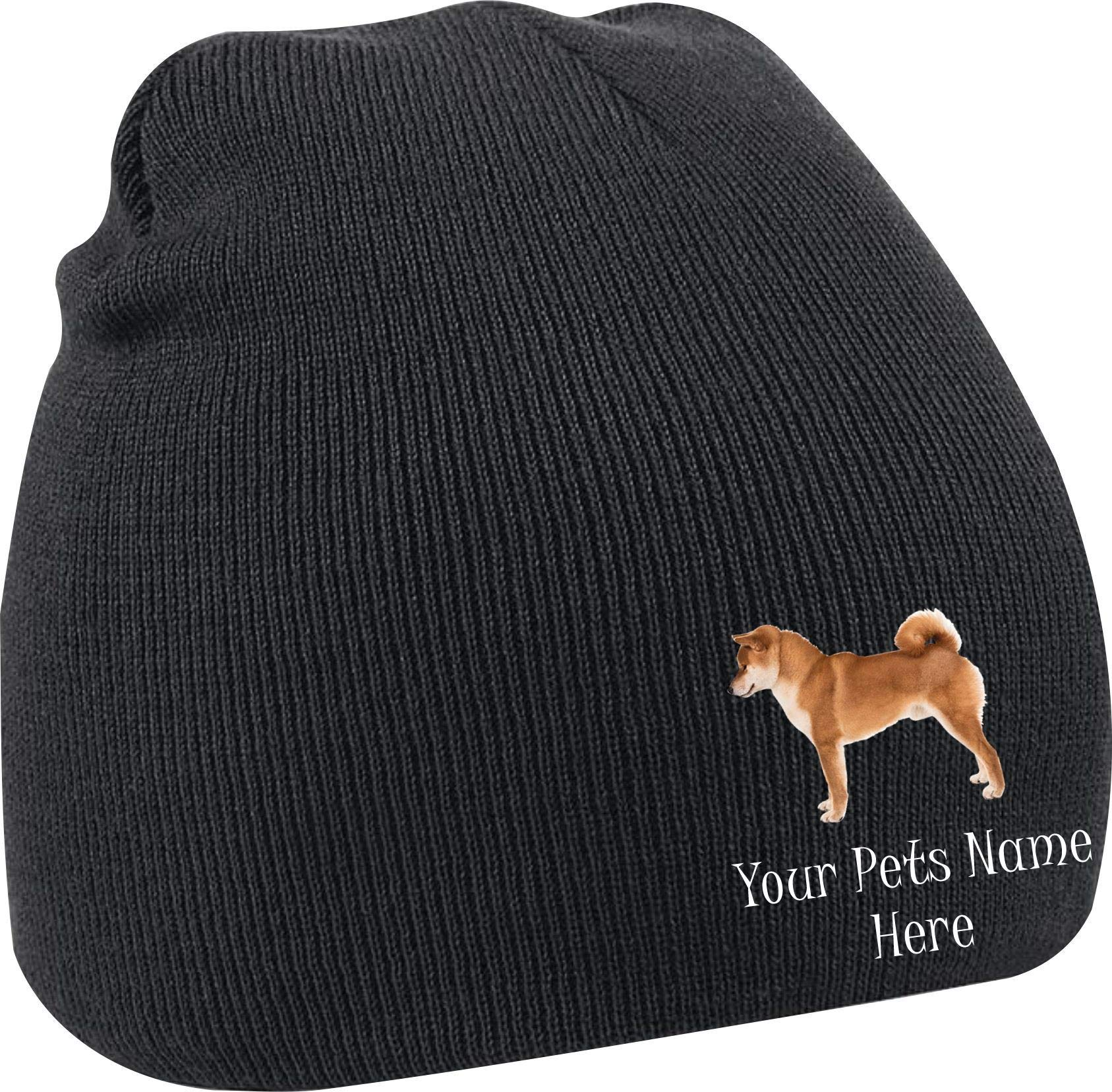 Taurus Clothing Shiba Inu Dog Personalised Embroidered Beanie Black