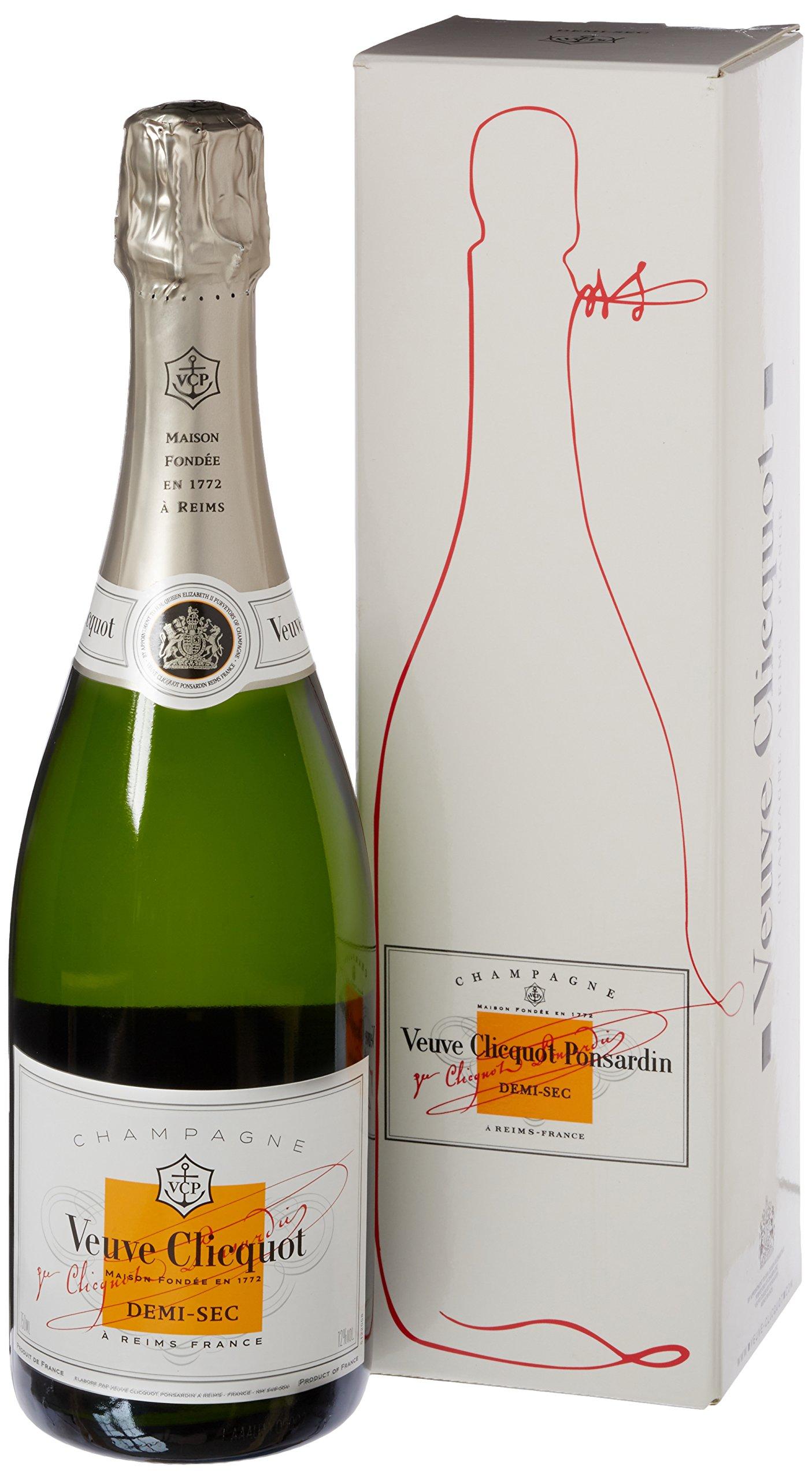 Veuve Clicquot White Label Demi-Sec Champagne Non Vintage with Gift Box, 75 cl
