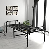 Honey Touch Folding Metal Single Bed for Sleeping Glossy Finish Powder Coated