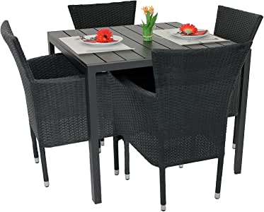 5tlg gartengarnitur balkonm bel set polywood aluminium tisch 90x90cm stapelbare. Black Bedroom Furniture Sets. Home Design Ideas