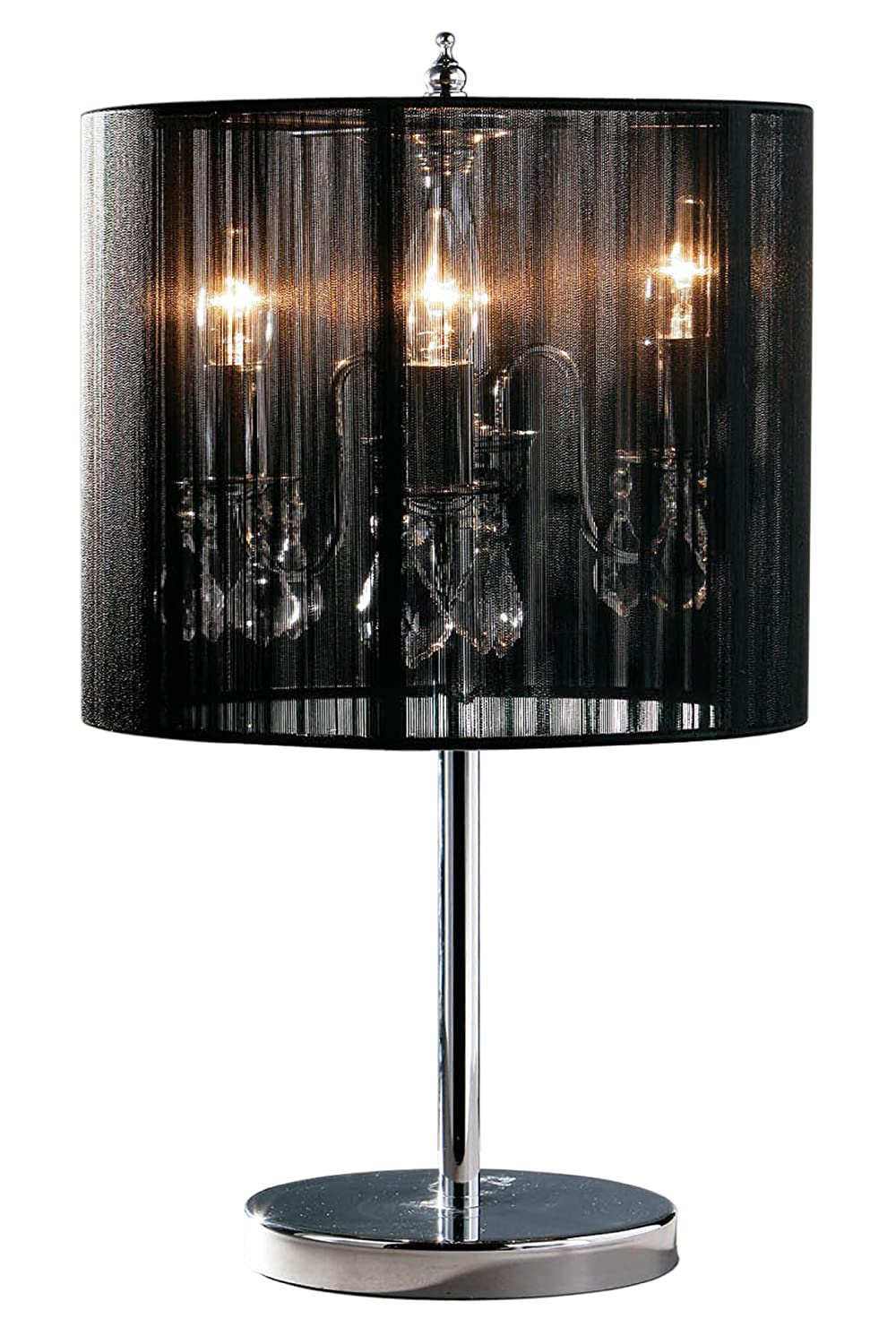 Premier Housewares Chandelier Table Lamp with Fabric Shade - Black ...