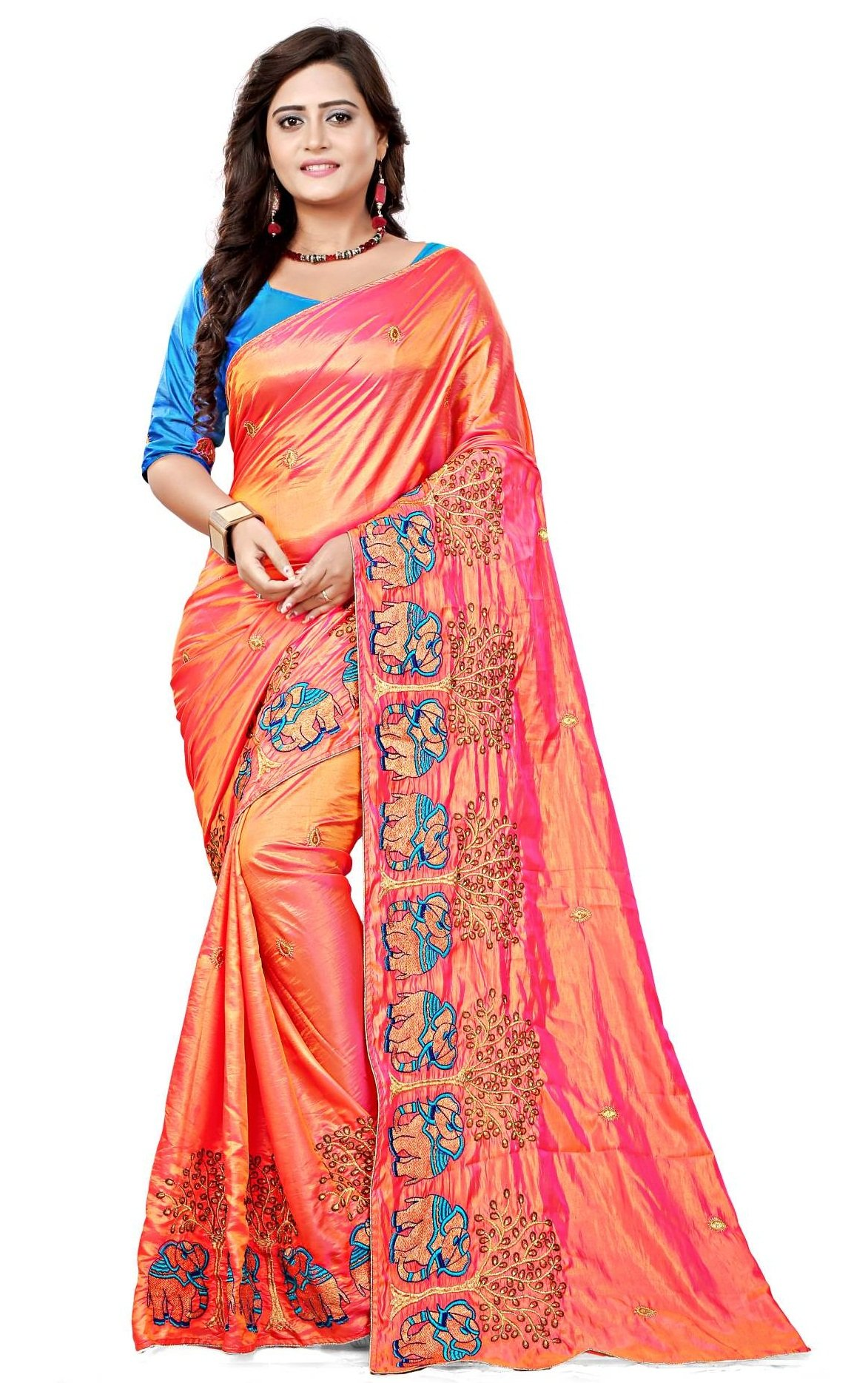 62540525e64966 Kuvarba Fashion Women s Silk Saree With Blouse Piece (3001  Pink  Free Size)