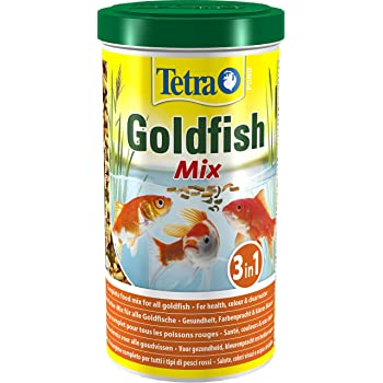 Tetra Pond Goldfish Mix, Complete Fish Food Mix for All Goldfish, 1 Litre