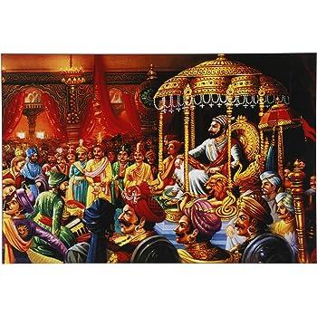 Kumkum Arts Shivaji Maharaj Rajyabhishek Frame Wall Gloss Paper