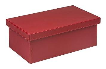 osco faux leather dvd size storage box red