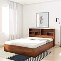 Amazon Brand - Solimo Canes Engineered Wood Queen Bed with Box Storage (Walnut finish)