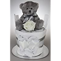Baby Boy Girl Neutral Nappy Cake with Silver Teddy Bear New Baby Shower Gift Present (One Tier)