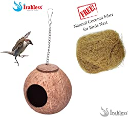 Coconut Shell Bird nest House (Small) with Free Natural Coconut Fiber for nest