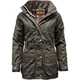 Game Technical Apparel Womens Cantrell Antique Waxed Cotton Jacket with Lightly Padded Tartan Lining
