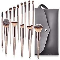 Bestope Pinceaux Maquillage kits 14pcs Synthétique Doux Pochette en Cuir PU Brosse Cosmétique Ombre à Paupière Doré…