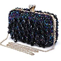 Abendtasche Damen Diamant Clutch Bag Kette Shiny Strass Handtasche Umhängetasche für Hochzeit Party - Dunkelblau(Dreieck…
