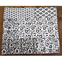 Textile export creations Creations Tropicana Cotton Printed Double Size Bedding Hand Kantha Blanket/Quilt (White, 108x90 Inch)