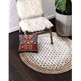 The Home Talk Hand Woven Braided Jute Area Rug, Round, Printed Triangles Design (Beige and White, 80 cm Diameter)