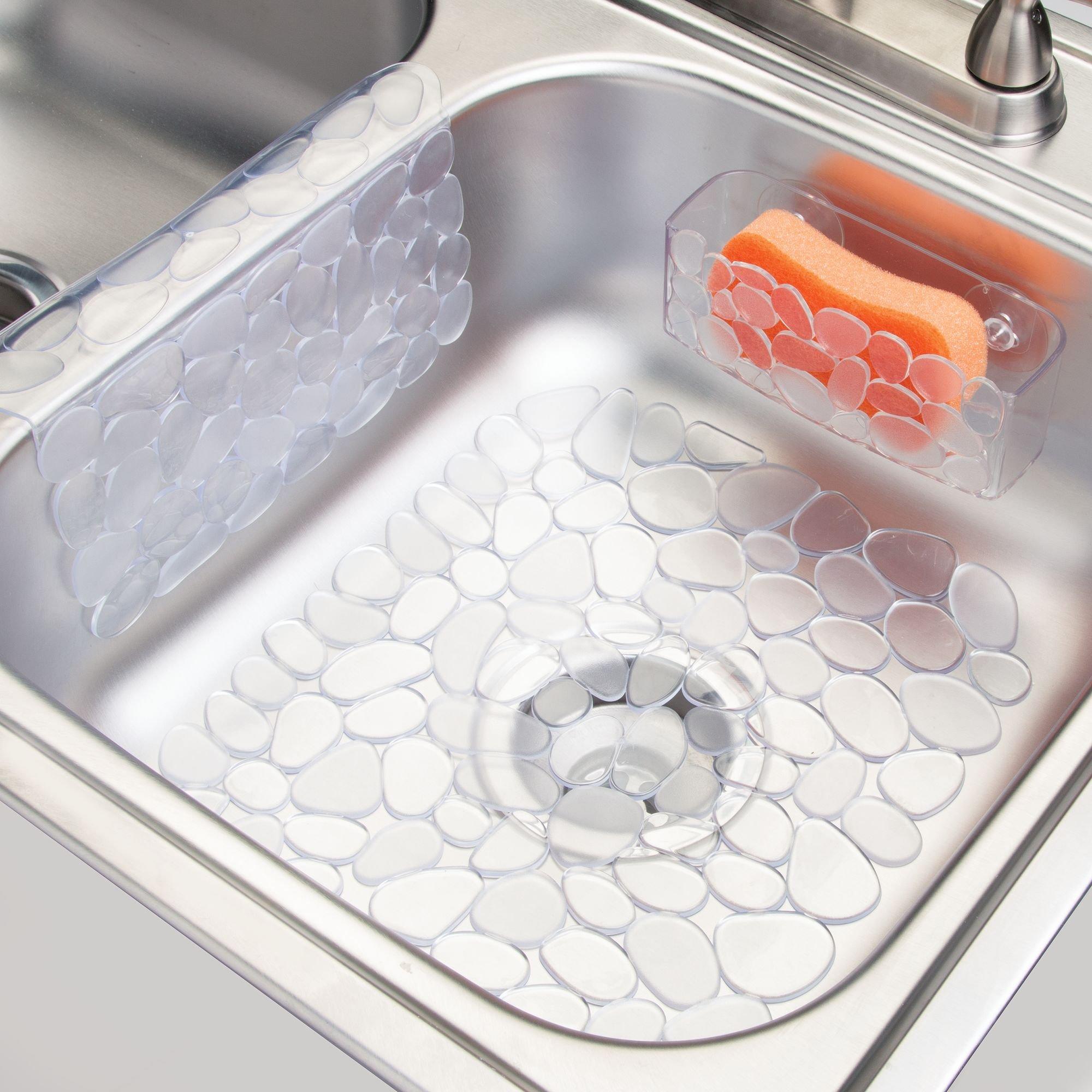 mDesign Set da 3 Accessori per Cucina con Fantasia a ciottoli - Include Un  Tappetino lavello, Un Tappetino per divisorio lavelli e Un Porta Spugna con  ...