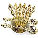 "Mini Spoons Set of 8 by Movalyfe Kitchen - Coffee Espresso Demitasse Vintage Tea Spoon 4.5"" Long (Gold)"