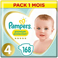 Pampers Premium Protection Taille4, 168Couches, 9-14kg Pack 1 Mois