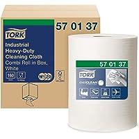 Tork 570137 Chiffon de nettoyage industriel extra résistant Premium, compatible avec les systèmes W1 et W2 / un pli - 60…