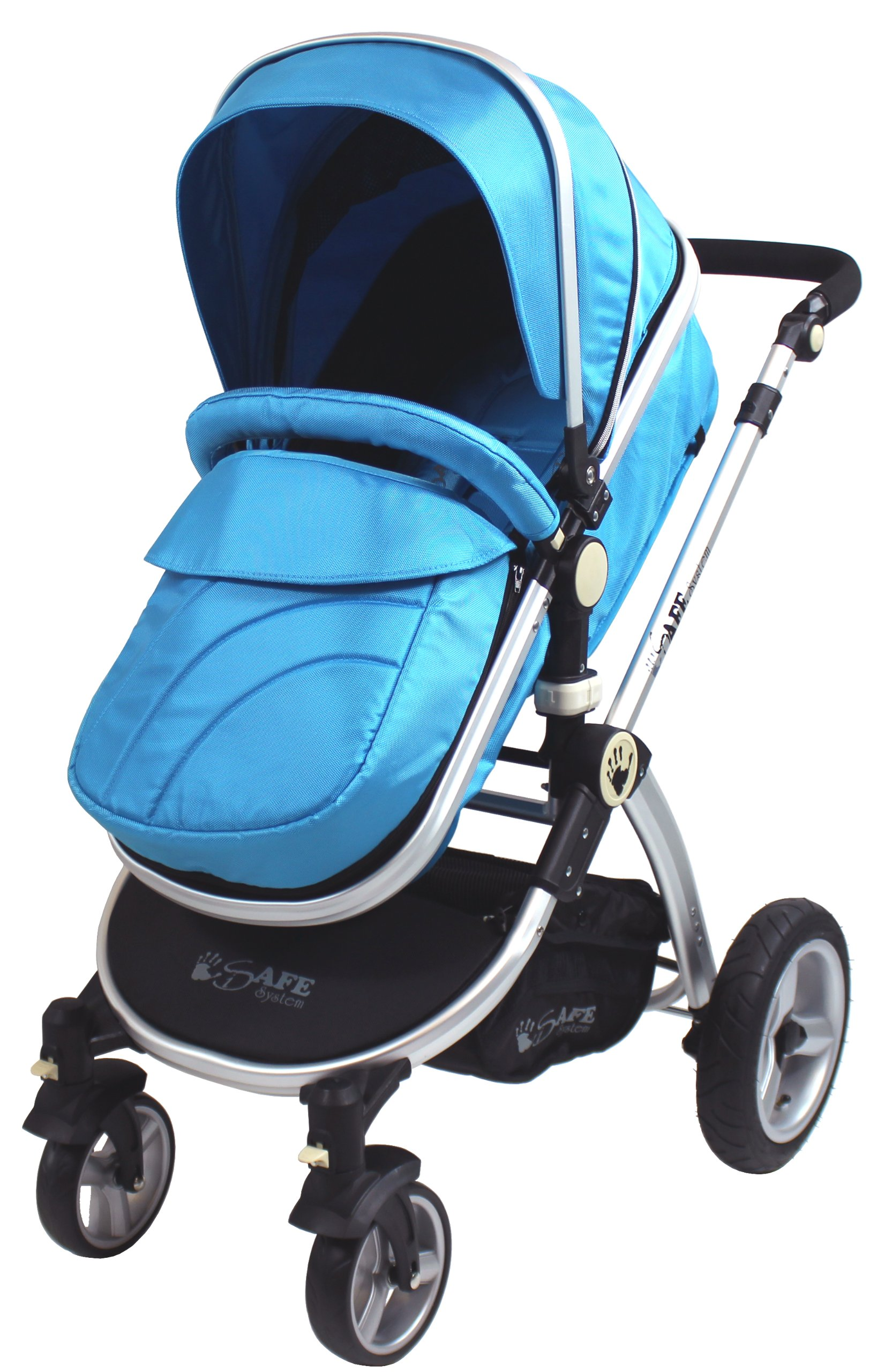 iSafe 2 in 1 Baby Pram System Complete (Ocean) iSafe We Are Proud To Present One Of The Finest 2in1 Stroller/Pram/Pramette/Travel System in the UK & Europe! 2 in 1 Stroller / Pram Extremely Easy Conversion To A Full Size Carrycot For Unrivalled Comfort. Complete With Boot Cover, Luxury Liner, 5 Point Harness, Raincover, Shopping Basket With Closed Ziped Top High Quality Rubber Inflatable Wheels With The Full All around Soft Suspension For That Perfect Unrivalled Ride 6
