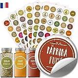 Vinta 210 autocollants en français pour bocaux à épices ; étiquettes cuisine de couleur pour pots à épices ; résistants à l'e