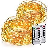Kohree Guirlandes Lumineuses Pile LED Etanche Imperméable 6M 60 leds avec Télécommande Fil cuivre 8 Mode Elairage Blanc Chaud Lot de 2