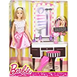 Barbie - DJP92 Doll & Playset with Hair Styling Accessories, Multi Color