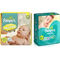 Pampers Active Baby Diapers, New Born, 24 Count & Pampers Baby Dry Diapers, New Born, 22 Count