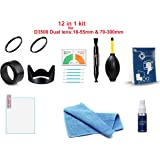 FND 12 in 1 Combo Kit of Accessories for Nikon D 3500 (Hood, Filter, Tempered Glass and Cleaning Kit)