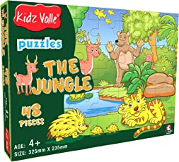 Kidz Valle The Jungle 48 Pieces Tiling Puzzles ( Jigsaw Puzzles , Puzzles for Kids, Floor Puzzles ), Puzzles for Kids Age 4 Years and Above. Size: 32.5 cm X 23.5 cm