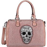 OBC Damen Totenkopf Skulls Tasche Strasssteine Glitzer Bowling Handtasche Shopper Beuteltasche Schultertasche…
