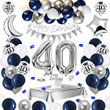 APERIL Globos Cumpleaños 40 Años Decoraciones de Cumpleaños Azul Plata, Pancarta Feliz Cumpleaños, Globos de Confeti Plateado