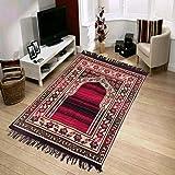 KETOSTICS Muslim Islamic Prayer Mat/Janamaz Mat, Chenille Look, Soft, Foldable 4x2 feet (RED Black)