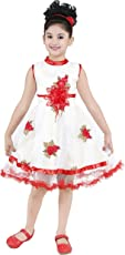 YAYAVAR Girls Net Made White & Red Colored Casual/Party Wear Frock for Girls - Set of 01 from 02-08 Years