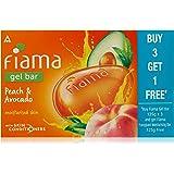 Fiama BUY Gel Bathing Bar, Peach and Avocado, 125g*3+GET 1 Fiama frangipani moisturising bar 125g free (Buy 3 Get 1 Free)