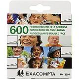 Exacompta - Réf. 12991E - 1 boîte de 600 autocollants photos double face prédécoupées - Blanc - sous film par 10 - Emballage