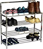 LIVINGBASICS® 4 TIER STAINLESS STEEL INSTALLATION FREE FOLDABLE/FOLDING SHOE/SHOES RACK/STAND FOR HOME OFFICE UPGRADED…